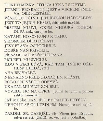 Ukázka z knihy Česká přísloví od Matěje Červenky a Jana Blahoslava (vyd. 1970)