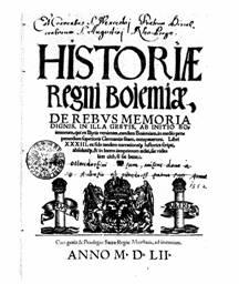 Titulní strana knihy J. Dubravia Historiae Regni Bohemiae, Prostějov, 1552  (z knihy Humanismus a raná renesance na Moravě, Praha, 1992)
