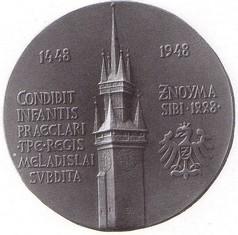 500. výročí stavby radniční věže ve Znojmě, ražená medaile, bronz, 1948