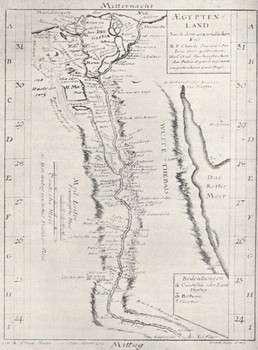 Sigardova mapa Egypta z roku 1726 pořízená ve spolupráci s Římařem