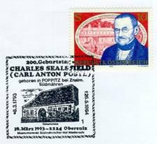 Příležitostní známka a razítko k 200. výročí narození
