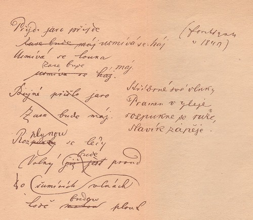 Ukázka rukopisu Jana Vlka ? báseň Přijde jaro, přijde